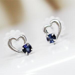 サファイア ピアス ホワイトゴールド K10WG|fashionjewelry-em