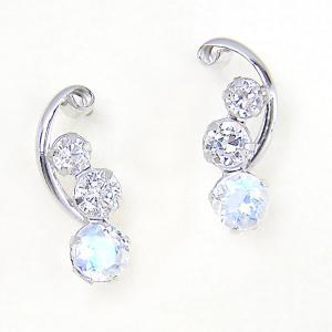 ブルームーンストーン ピアス キュービックジルコニア K14 ホワイトゴールド|fashionjewelry-em