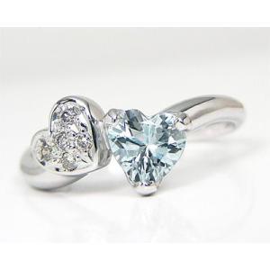 K10WG アクアマリン×ダイヤモンド ハートモチーフ ピンキーリング|fashionjewelry-em