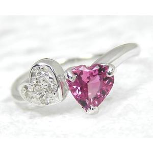 K10WG ピンクトルマリン×ダイヤモンド ピンキーリング|fashionjewelry-em