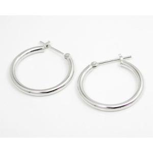 ホワイトゴールド K14WG  パイプ フープ スナップピアス 線径2.0φ外径20.0mm|fashionjewelry-em