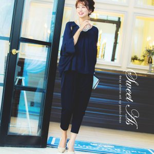 4wayスリーブ セットアップ パンツドレス  【カラー】 ブラック / ネイビー / ベージュ×ブ...