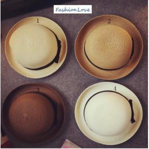 夏新作 麦わら帽子 レディース ストローハット UVカット 帽子 トッパー リボン付き
