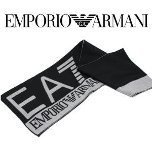 EMPORIO ARMANI エンポリオアルマーニ EA7 マフラー ストール 2015-2016年秋冬新作 5A393275561 37020 53 デカロゴツートン ブラック アクリル ギフト|fashionplate-fsp