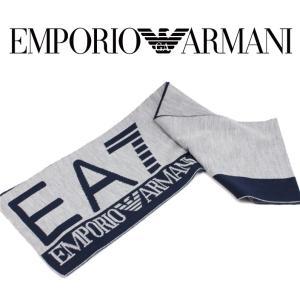 EMPORIO ARMANI エンポリオアルマーニ EA7 マフラー ストール 2015-2016年秋冬新作 5A393275561 6449 53 デカロゴツートン グレー アクリル ギフト|fashionplate-fsp