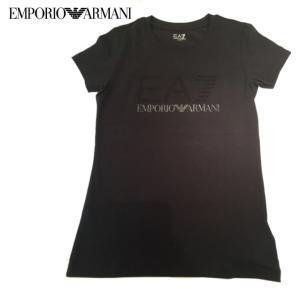 EMPORIO ARMANI エンポリオアルマーニ EA7ラインストーン クルーネックTシャツ ブラック|fashionplate-fsp