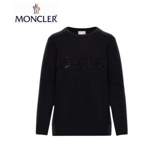 MONCLER モンクレール KNIT CREWNECK SEQUIN LOGO ニット クルーネック スパンコール ロゴ セーター レディース Noir Black ブラック 2019-2020年秋冬新作|fashionplate-fsp