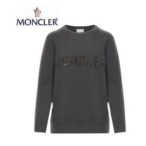 【海外限定カラー】MONCLER モンクレール KNIT CREWNECK LOGO ニット クルーネック スパンコール ロゴ セーター レディース Grey グレー 2019-2020年秋冬新作|fashionplate-fsp