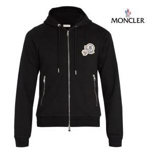 MONCLER モンクレール Badge-applique hooded cotton sweatshirt ジャケット メンズ ブラック 2018-2019年秋冬新作|fashionplate-fsp