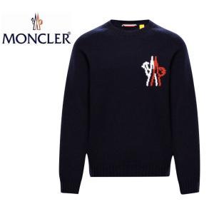 MONCLER モンクレール  2 MONCLER 1952 + VALEXTRA 2019-2020年秋冬新作 Mens メンズ CREWNECK CHEST LOGO KNIT クルーネック 胸ロゴ ニット Blue ブルー|fashionplate-fsp