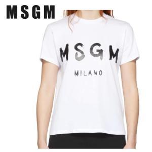 MSGM エムエスジーエム ホワイト Milano ロゴ T シャツ 191443F110001|fashionplate-fsp