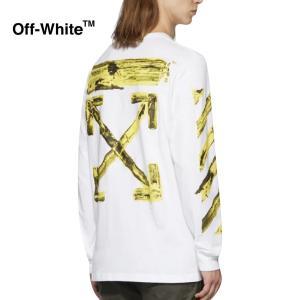 Off-White オフホワイト  LONG SLEEVE T-SHIRT  ロングスリーブ Tシャツ トップス Mens メンズ White ホワイト&イエロー fashionplate-fsp