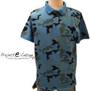 Project e Vintage プロジェクトイー ヴィンテージ 2016年春夏新作 2016SS メンズ ポロシャツ カモフラ柄ピケ地 ステッチ 迷彩 P08Apr16 ブルー|fashionplate-fsp