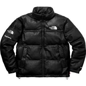 Supreme シュプリーム 2017-18年秋冬 The North Face Leather Nuptse Jacket ノースフェイス ブラック ロゴ|fashionplate-fsp