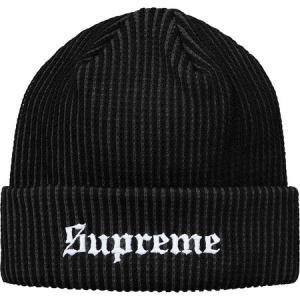 Supreme シュプリーム 2017-18年秋冬 帽子 ニット 2 Tone Rib Beanie ブラック ロゴ|fashionplate-fsp