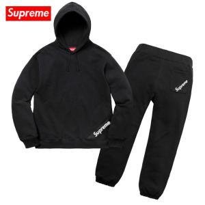 Supreme シュプリーム 2018年春夏 Corner Label Hooded Sweatshirt & Sweatpant Setup Black スウェット セットアップ ブラック|fashionplate-fsp