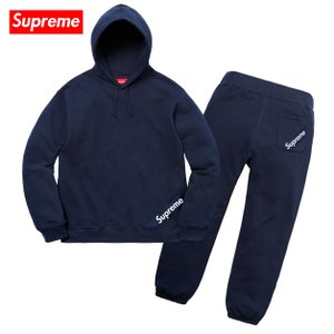 Supreme シュプリーム 2018年春夏 Corner Label Hooded Sweatshirt & Sweatpant Setup Navy スウェット セットアップ ネイビー|fashionplate-fsp