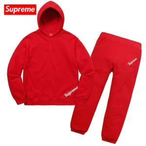 Supreme シュプリーム 2018年春夏 Corner Label Hooded Sweatshirt & Sweatpant Setup Red スウェット セットアップ 赤|fashionplate-fsp