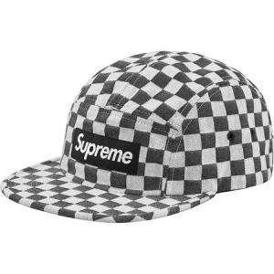 Supreme 2018年春夏 Checkerboard Camp Cap ブラック 帽子 キャップ fashionplate-fsp