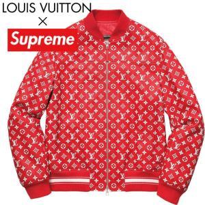 LOUIS VUITTON×Supreme ルイ・ヴィトン シュプリーム コラボ ロゴ レザージャケット レッド