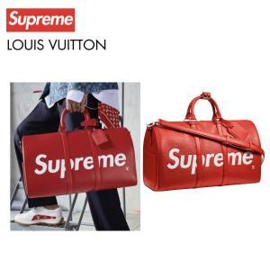 LOUIS VUITTON×Supreme ルイ・ヴィトン シュプリーム コラボ ロゴ ボストンバッグ キーポル・バンドリエール45 エピ M53419