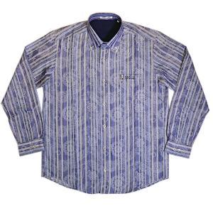 バジエ VAGIIE ストライプ×和柄  綿麻素材 長袖シャツ 日本製 3220-1005 通常販売価格:26400円|fashionspace-yokoya