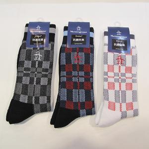 マンシングウェア Munsingwear メンズ チェック柄底パイルレギュラーソックス 靴下|fashionspace-yokoya