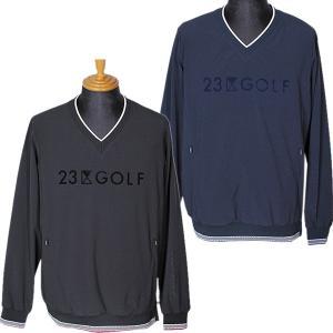 23区ゴルフ 23区GOLF メンズ プルオーバーVネックストレッチスニードジャック ウインドブレーカー ブルゾン ゴルフウェア 2019秋冬新作 通常販売価格:22000円|fashionspace-yokoya