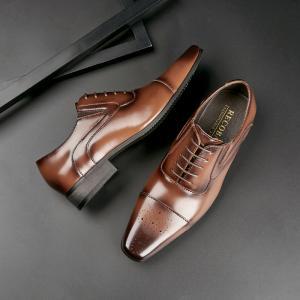 ブローグシューズ メンズ ビジネスシューズ 通気性 革靴 イギリス風 レースアップ  紳士靴 ローカット 歩きやすい 冠婚葬祭 正式|fashionya