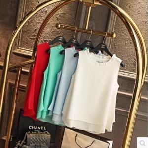 ノースリーブブラウス 春夏スーツインナー オフィス ビジネス 女性 シフォン天竺フロントタック裾バルーン シャツ 半袖 とろみシフォン ジョーゼット|fashionya