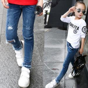 春秋着新作学生 デニムパンツ 女の子ジーンズ デニム キッズ用 こども服 韓国子供服 ダメージジーンズ デニムパンツ 子供服 ロングパンツ  女の子|fashionya