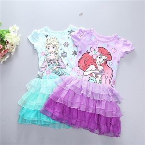 cddf6a4f53c96 W168 ディズニープリンセス キッズ アリエル ワンピース なりきりワンピース プリンセスドレス 子どもドレス エルサ キッズドレス 女の子