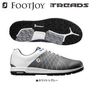「土日祝も出荷可能」フットジョイ ゴルフ FJ トレッド レース 56204 スパイクレス ゴルフシューズ ホワイト×グレー FOOTJOY TREADS Lace|fastgolf