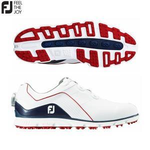 「土日祝も出荷可能」フットジョイ ゴルフ PRO SL BOA 53290 スパイクレス ゴルフシューズ ホワイト×ネイビー×レッド FOOTJOY プロエスエルボア|fastgolf