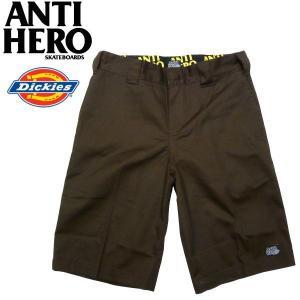 ANTIHERO(アンタイヒーロー)×DICKIES(ディッキーズ)コラボ ハーフパンツ ワークショートパンツ ダークブラウン|fatmoes