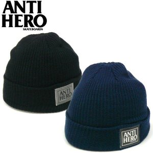新入荷! ANTIHERO アンタイヒーロー BLACKHERO ニットキャップ アンチヒーロー ブラックヒーロー スケーター|fatmoes