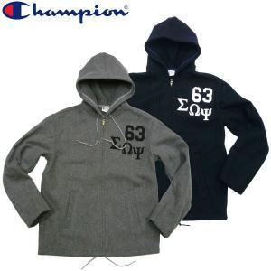 Champion チャンピオン メルトンフードジャケット MELTON HOODED メルトンZIPパーカー メンズ|fatmoes