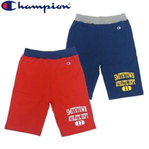 チャンピオン Champion リブ配色 ショートパンツ RED NAVY カレッジプリント ハーフパンツ ショーツ|fatmoes