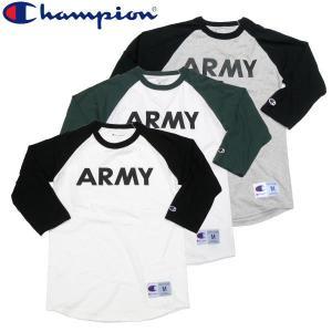 特別[10%OFF]SALE セール Champion チャンピオン ARMY ラグラン 七部袖 Tシャツ アーミー ミリタリー|fatmoes