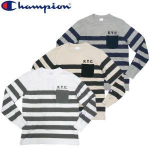 チャンピオン Champion N.Y.C ポケット付き ボーダーロングスリーブTシャツ フットボール ヴィンテージ|fatmoes