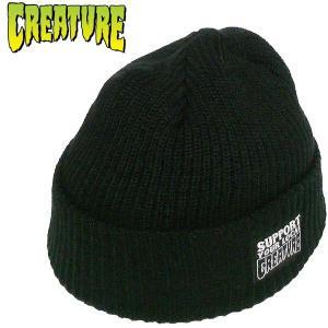 CREATURE(クリーチャー) ニット帽 ワッチキャップ ロゴパッチ 新作 ブラック 黒 スケーターブランド|fatmoes
