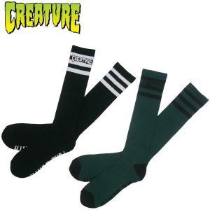 クリーチャー CREATURE 新作 PURE DEATH 2色セットハイソックス ロゴ 靴下 スケボー PUNK パンク スケーターソックス ボーダー|fatmoes