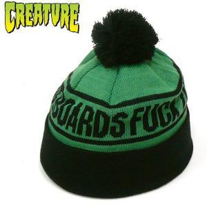 CREATURE (クリーチャー) SHOREMAN  ボンボン ニット帽 ワッチキャップ ブラック 黒|fatmoes