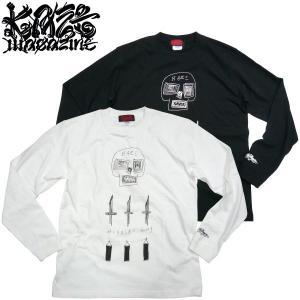 KAZE MAGAZINE【カゼ マガジン】DISKAH デザイン KAZE MAGAZINE プリント Long Tshirt GRAFFITI グラフティー アート スケーター|fatmoes