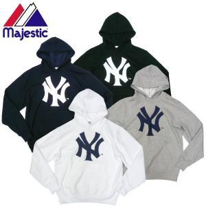 Majestic マジェスティック New York Yankees ビッグロゴ パーカー NY ヤンキース MLB 公式|fatmoes