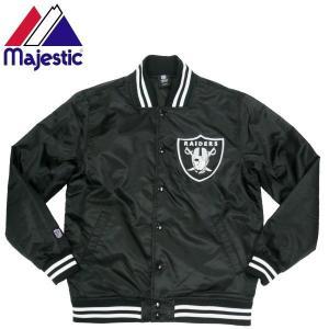 Majestic マジェスティック RAIDERS ナイロンスタジャン サテンブルゾン OAKLAND レイダース アメリカン フットボール NFL 公式|fatmoes