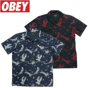 OBEY (オベイ) DEATH TOUCH 総柄シャツ アロハシャツ ハワイアン 和柄 ヴィンテージ fatmoes