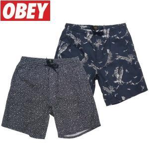 OBEY (オベイ) 総柄 SHORT アロハ バケットハット ハワイアン 和柄 ドット柄 ボードショーツ fatmoes