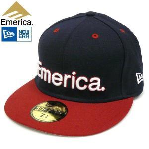EMERICA【エメリカ】STADIUM NEWERA CAP ニューエラキャップ ツバ切替 フロントロゴ刺繍 ベースボール スケボー SK8 ネイビー/レッド|fatmoes