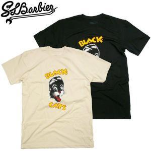 SLBarbier【サルバービア】BLACK CATS 薄手スリムTシャツ ストレイキャッツパロディー STRAY CATS SLB スケーターTee fatmoes
